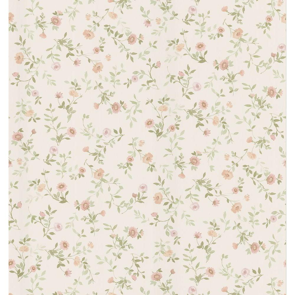 Cottage Living Off White Wash Floral Wallpaper Sample