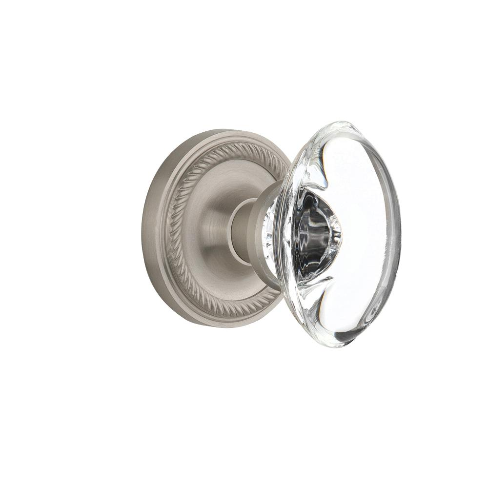 Rope Rosette Double Dummy Oval Clear Crystal Glass Door Knob in