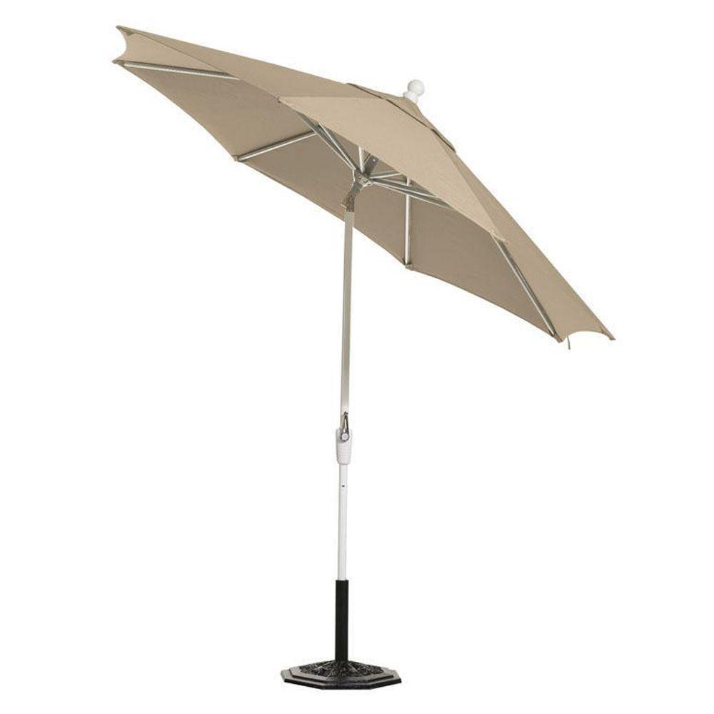 null Sunbrella 11 ft. Auto-Tilt Patio Umbrella in Heather Beige