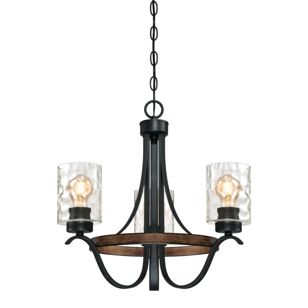 Westinghouse Barnwell 3-Light Textured Iron and Barnwood Chandelier with Clear Hammered Glass Shades