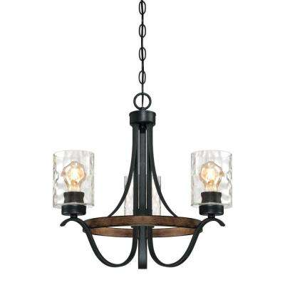 Barnwell 3-Light Textured Iron and Barnwood Chandelier with Clear Hammered Glass Shades