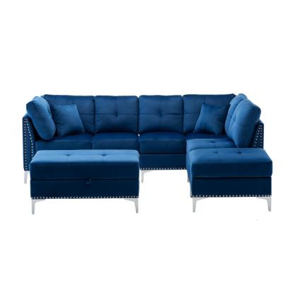 Wittig 100 in. Navy Blue Velvet Tufted 4 Seats Sofa & Chaise with Nailhead Convertible Sectional Couch