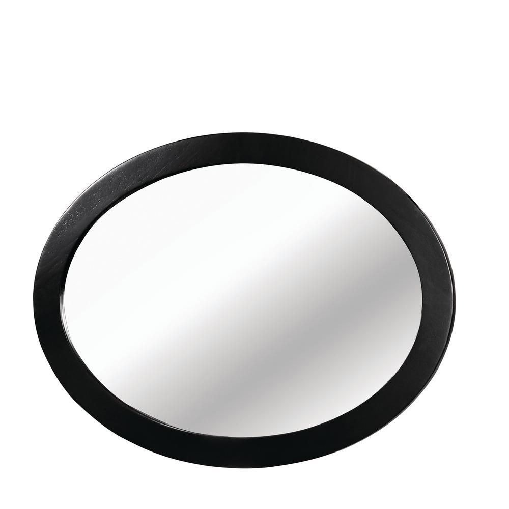 Mackie Wood Oval Black Decorative Wall Mirror