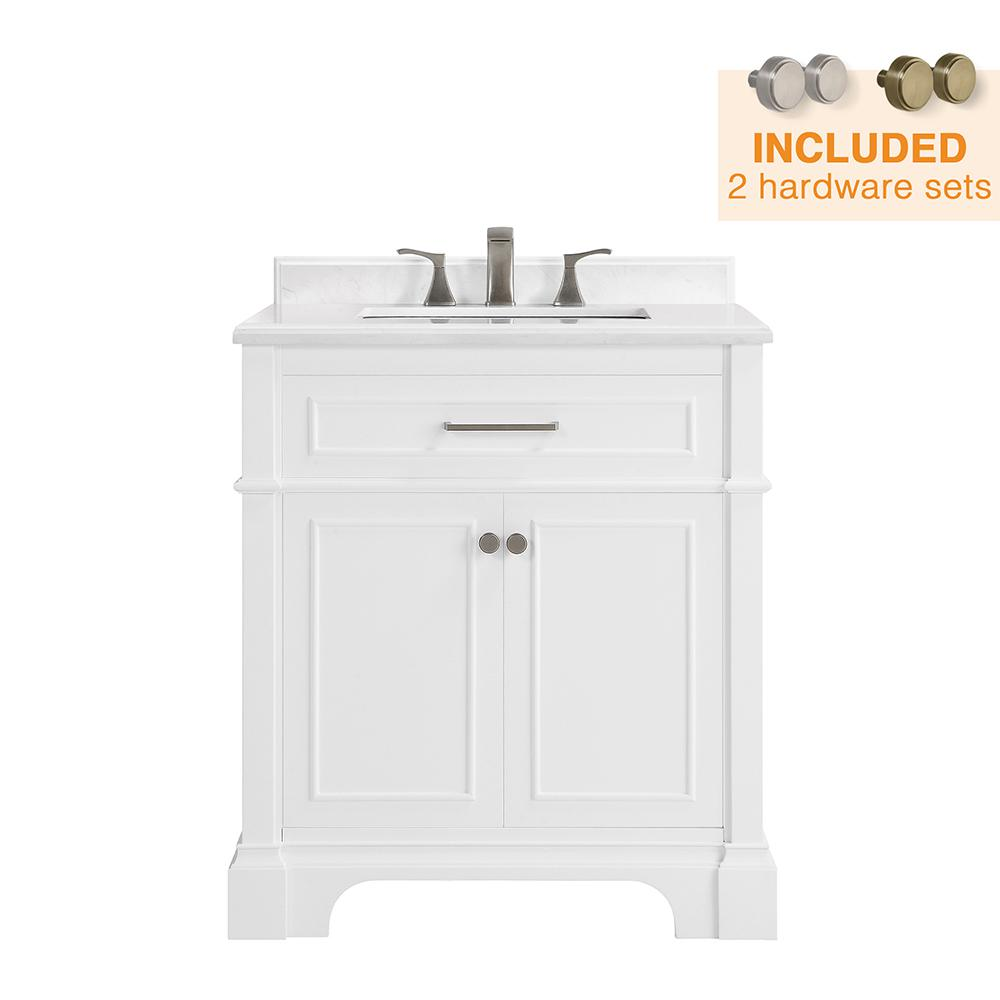 Home Decorators Collection Melpark 30 in. W x 22 in. D Bath Vanity in White  with Cultured Marble Vanity Top in White with White Sink