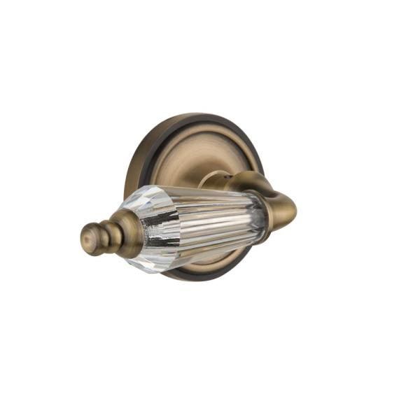 Classic Rosette 2-3/8 in. Backset Antique Brass Privacy Bed/Bath Parlor Lever