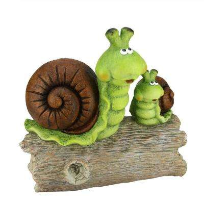 15.25 in. Green and Brown Snails on a Stump Spring Outdoor Patio Garden Statue