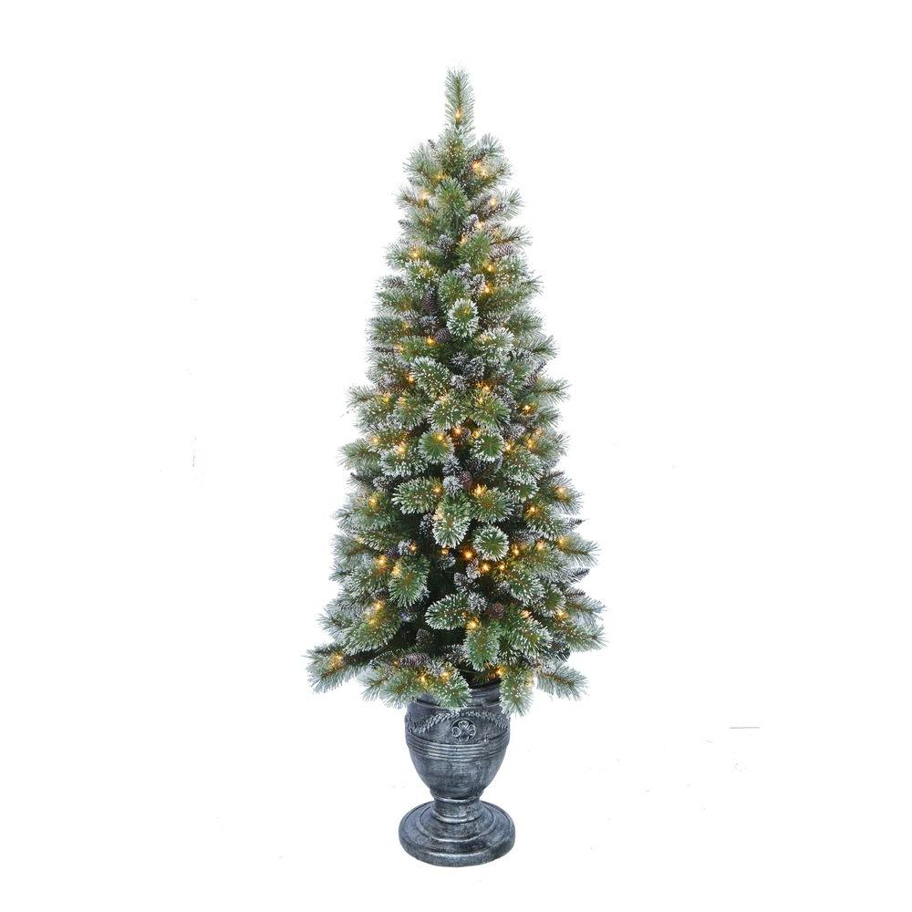Home Accents Holiday 6.5 ft. Indoor Pre-Lit Sparkling Pine Porch ...
