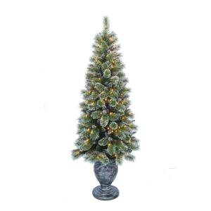 indoor pre lit sparkling pine porch artificial christmas tree 16hd0165 the home depot - Pine Christmas Tree