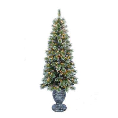 6.5 ft. Indoor Pre-Lit Sparkling Pine Porch Artificial Christmas Tree