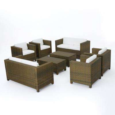 Puerta Gold 8-Piece Wicker Patio Conversation Set with White Cushions