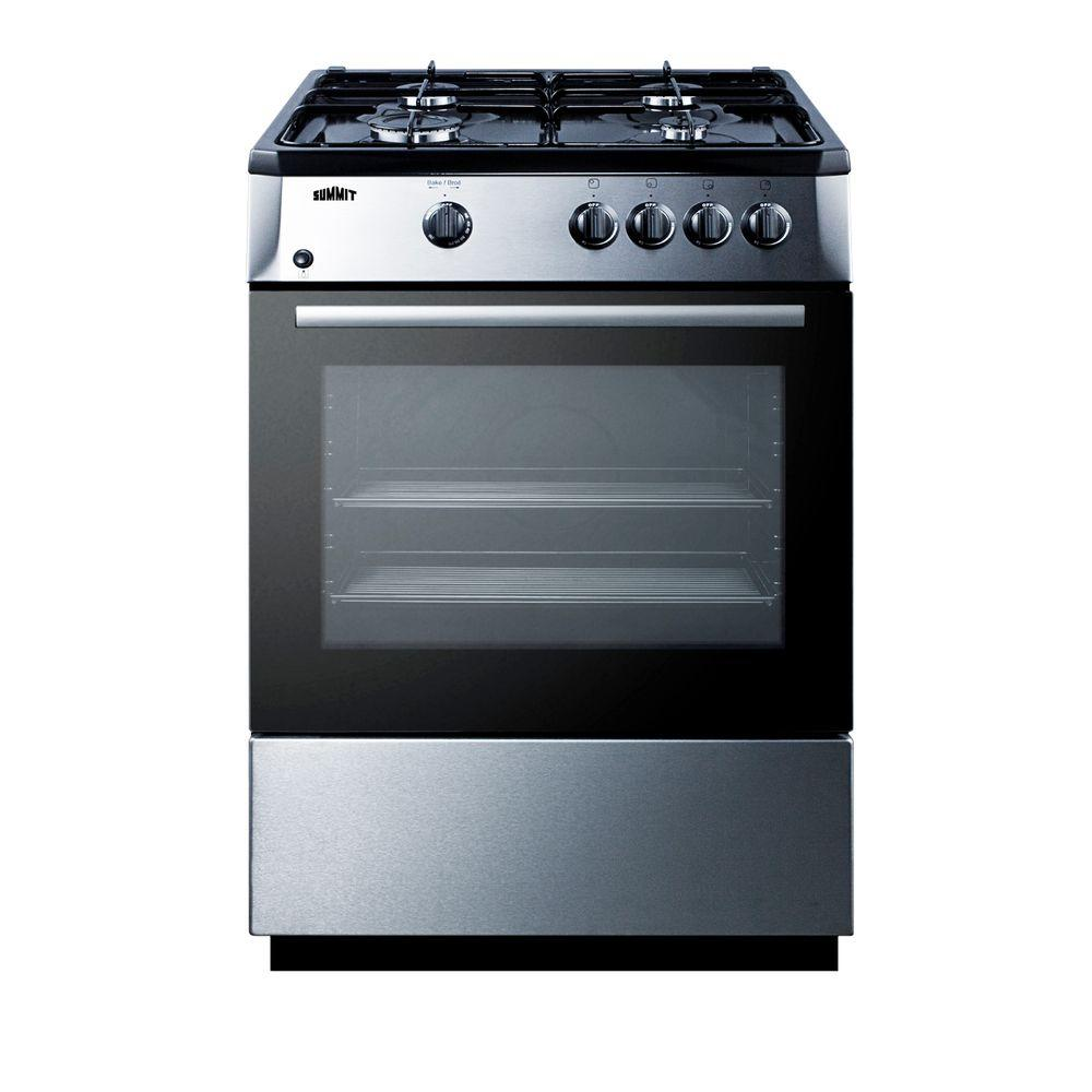 Summit 24 in. 2.7 cu. ft. Slide-In Gas Range in Stainless...