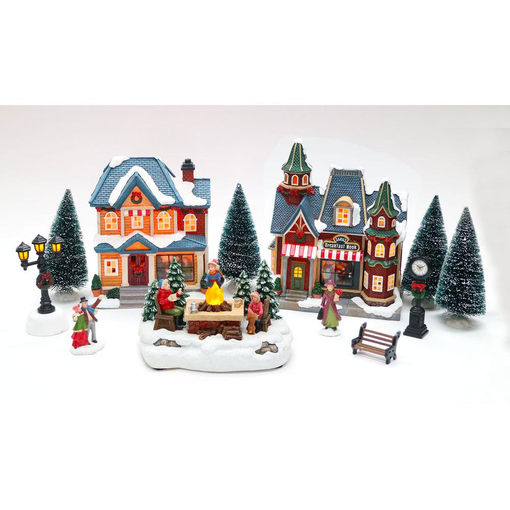 Christmas Village Sets.Home Accents Holiday 8 In Christmas Village Set With Breakfast Nook 12 Piece