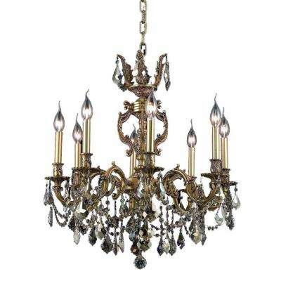 8-Light French Gold Chandelier with Golden Teak Smoky Crystal
