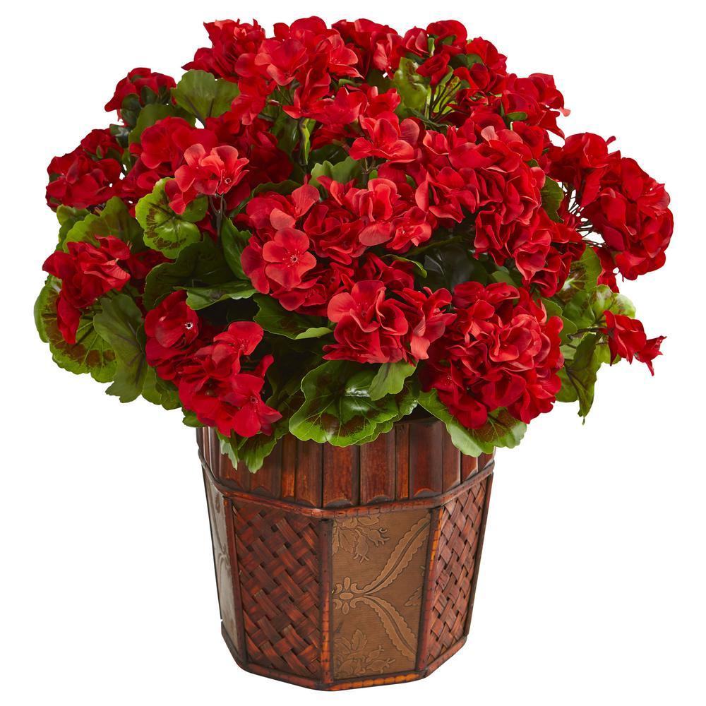 Red Geranium Artificial Plant in Decorative Planter