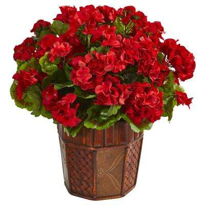 Indoor Geranium Artificial Plant in Brown Decorative Planter