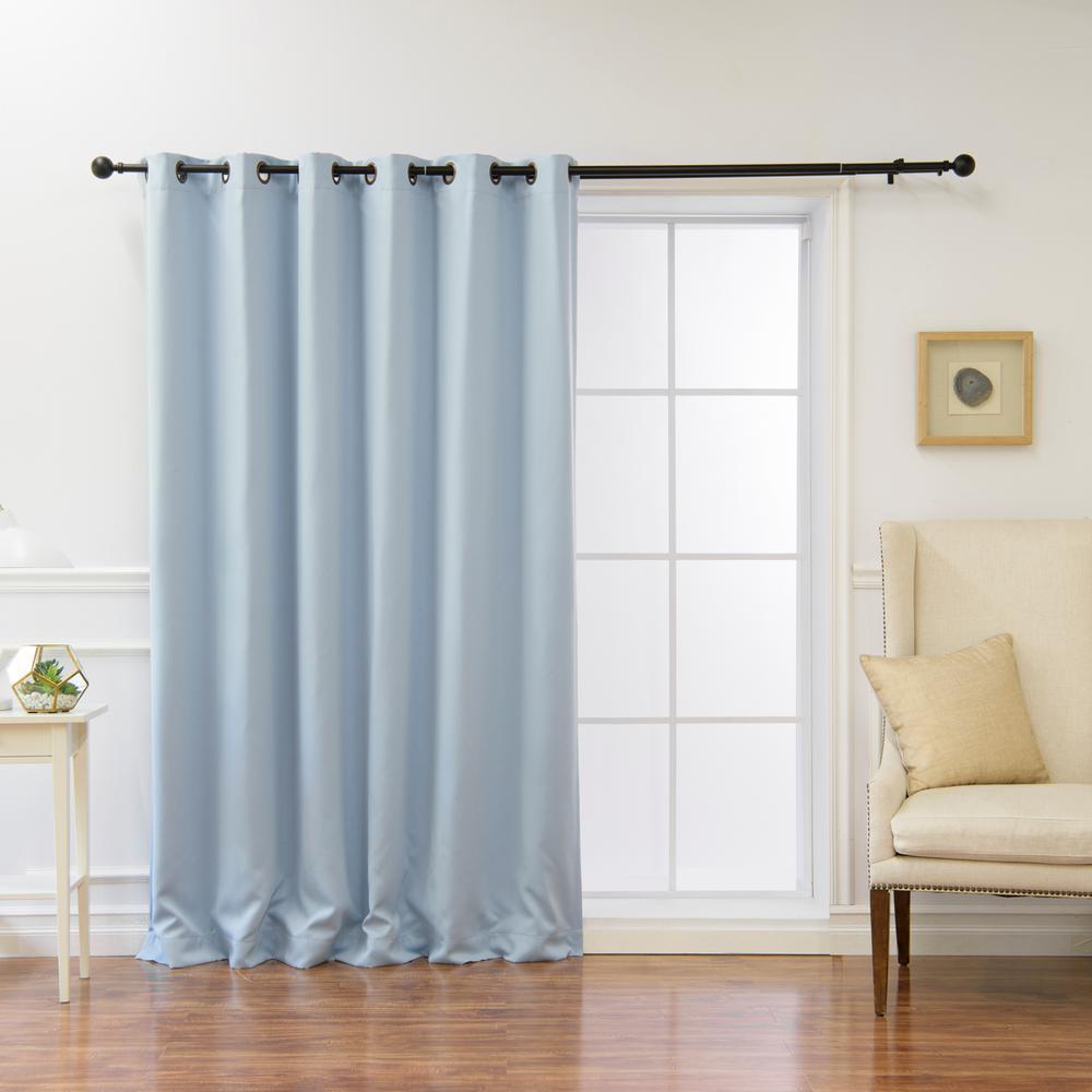 Wide Basic 80 in. W x 96 in. L Blackout Curtain in Sky Blue