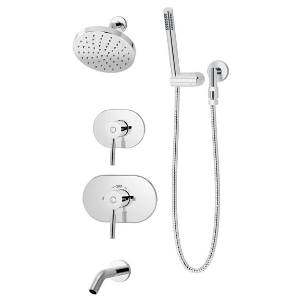 Sereno 2-Handle Tub and 1-Spray Shower Trim with 1-Spray Hand Shower in Polished Chrome (Valve not Included)