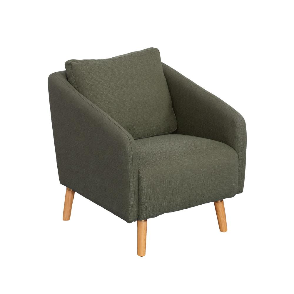 Dolsey Greenish-Grey Fabric Accent Chair with Flared Wooden Legs