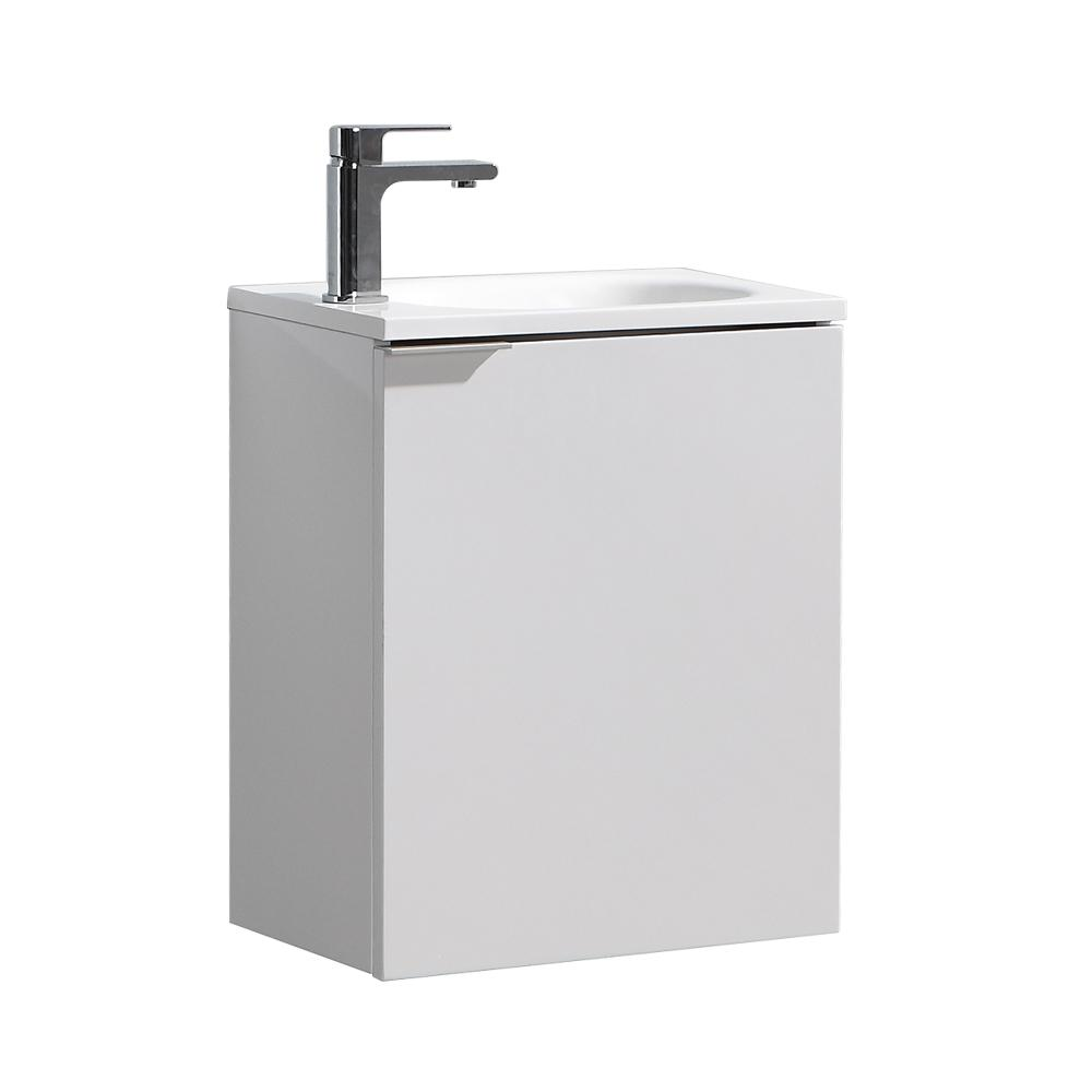 Fresca Valencia 20 in. W Wall Hung Bathroom Vanity in Glossy White with Acrylic Vanity Top in White