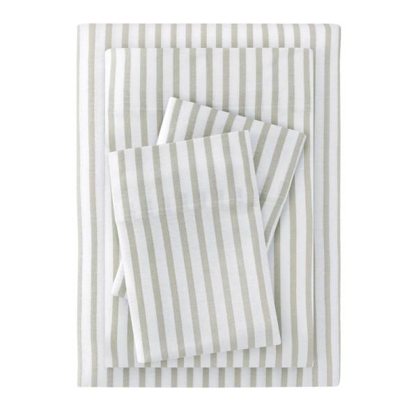 StyleWell Jersey 4-Piece Queen Sheet Set in Biscuit Stripe CN38QSHTSEBISST