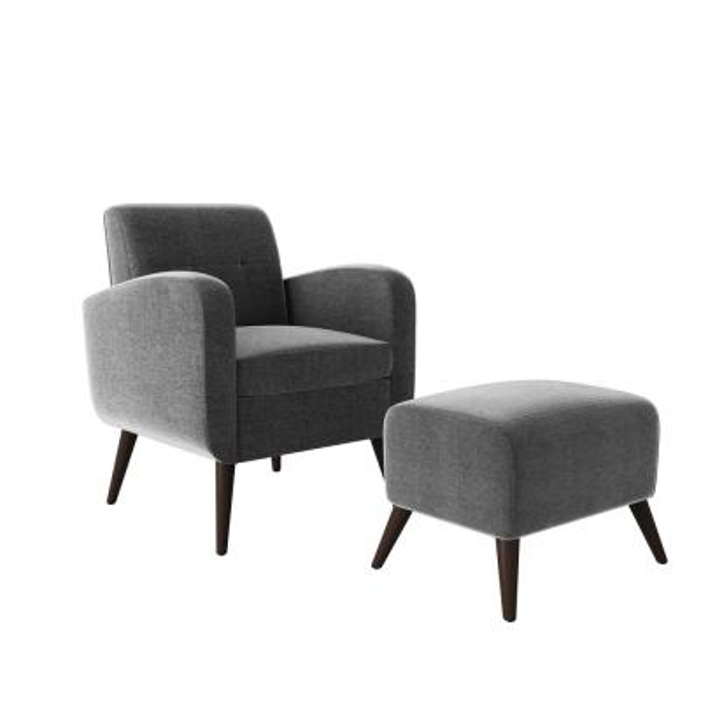 Metro Charcoal Gray Plush Low-Pile Velour Arm Chair and Ottoman Set