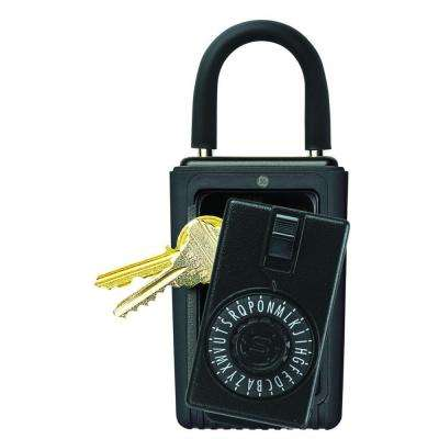 Portable 3-Key Lock Box with Spin Dial Combination Lock, Black