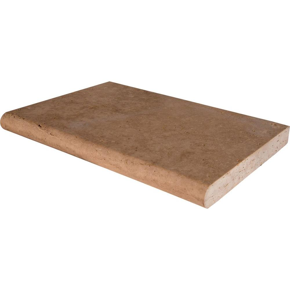 Mediterranean Walnut 16 in. x 24 in. Brushed Travertine Pool Coping