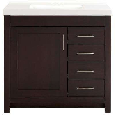 Westcourt 37 in. W x 22 in. D Vanity in Chocolate with Cultured Marble Vanity Top in White with White Sink