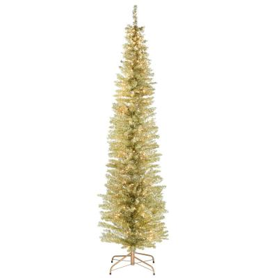 7 ft. Champagne Gold Tinsel Tree with Metal Stand and 210 Clear Lights