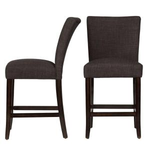 24 in. Whitmire Charcoal Cushioned Bar Stool (Set of 2)