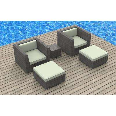 Curacao 5-Piece Wicker Outdoor Sectional Seating Set with Beige Cushions
