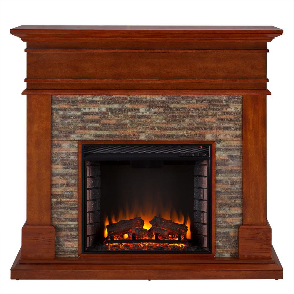 Tabetha 48 in. Faux Stone Electric Fireplace in Glazed Pine