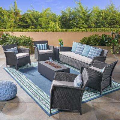 St. Lucia Gray 7-Piece Wicker Patio Fire Pit Conversation Set with Silver Cushions