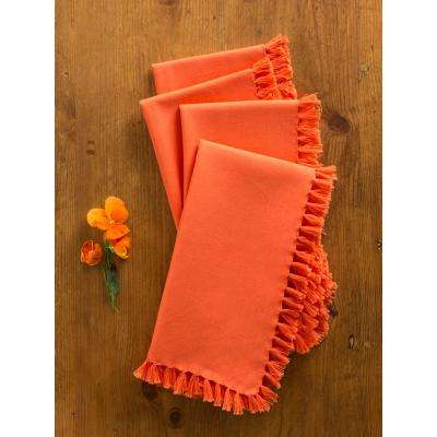 Orange Essential Fringed Napkins (Set of 4)