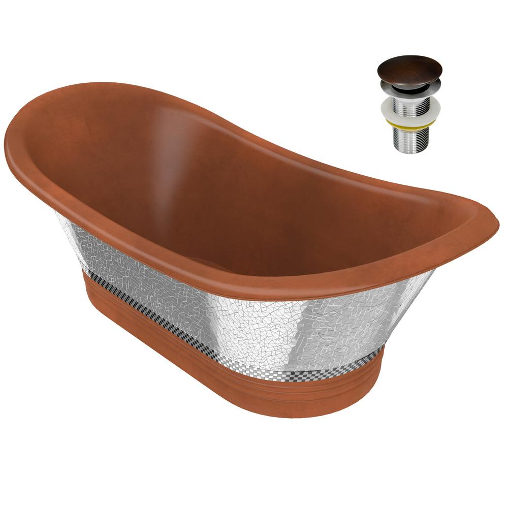 ANZZI Theodosius 68 in. Handmade Copper Double Slipper Flatbottom Non-Whirlpool Bathtub in Polished Antique Copper was $2899.0 now $2319.2 (20.0% off)