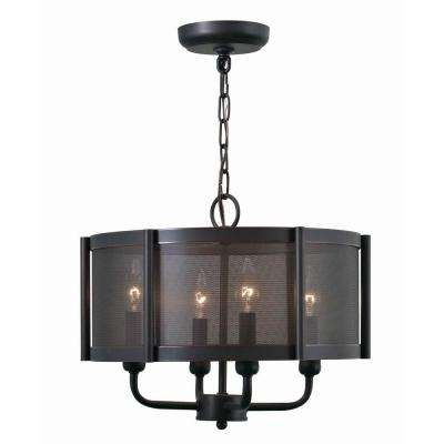 Xena Collection 4-Light Euro Bronze Indoor Chandelier