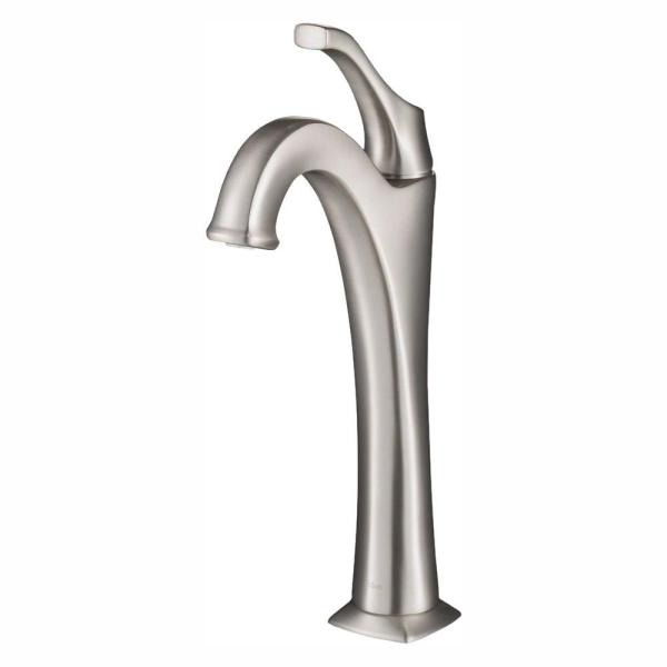 Arlo Spot-Free all-Brite Single-Handle Vessel Bathroom Faucet with Pop Up Drain in Brushed Nickel