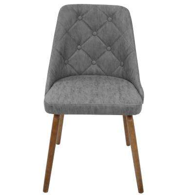 Giovanni Mid-Century Grey Modern Button Tufted Dining Chair Faux Leather