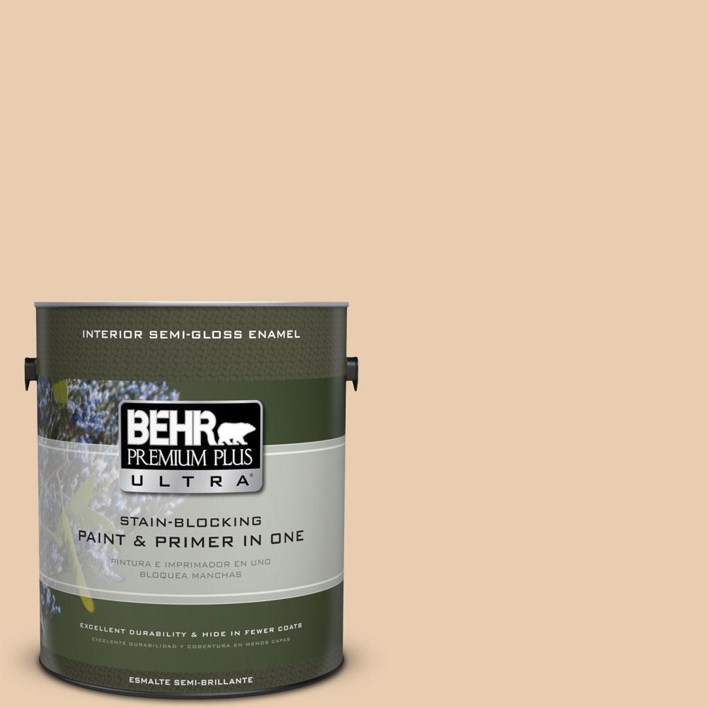 BEHR Premium Plus Ultra 1-gal. #BXC-64 Shortbread Cookie Semi-Gloss Enamel Interior Paint