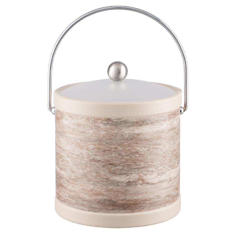 Smoke Stone 3 Qt. Gray Ice Bucket with Bale Handle and Acrylic Lid