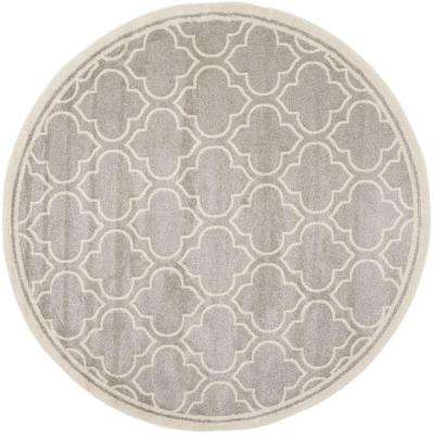 Amherst Light Gray/Ivory 7 ft. x 7 ft. Indoor/Outdoor Round Area Rug