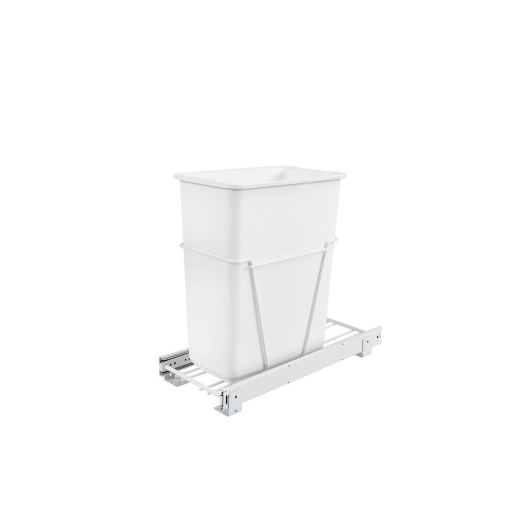 Rev-A-Shelf 19.25 in. H x 9.5 in. W x 22 in. D Single 30 Qt. Pull-Out White Waste Containers with Full-Extension Slides