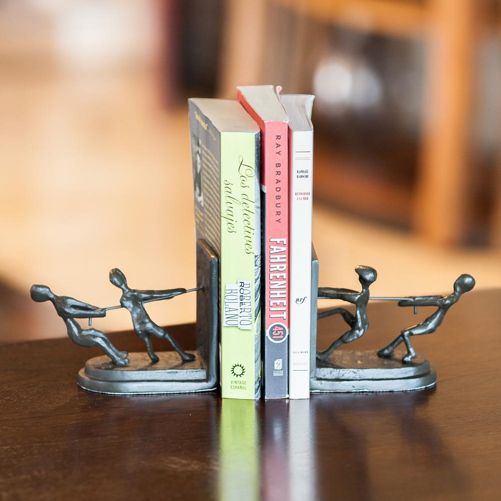 Tug of War Dark Brown Cast Iron Bookends (Set of 2)