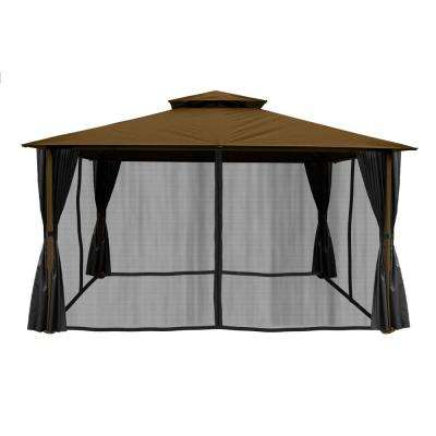 Paragon 11 ft. x 14 ft. Gazebo with Cocoa Sunbrella Top and Privacy Curtains and Mosquito Netting