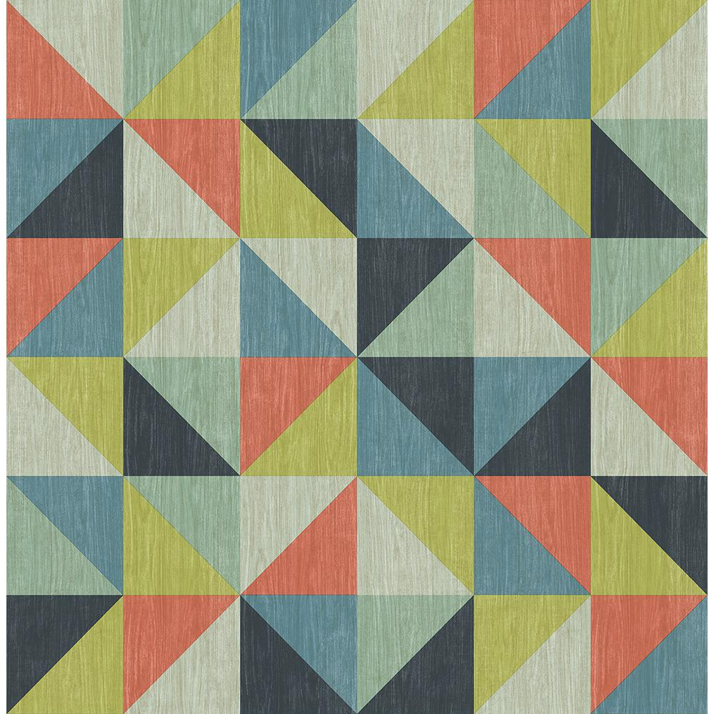 A Street Puzzle Blue Geometric Wallpaper Sample