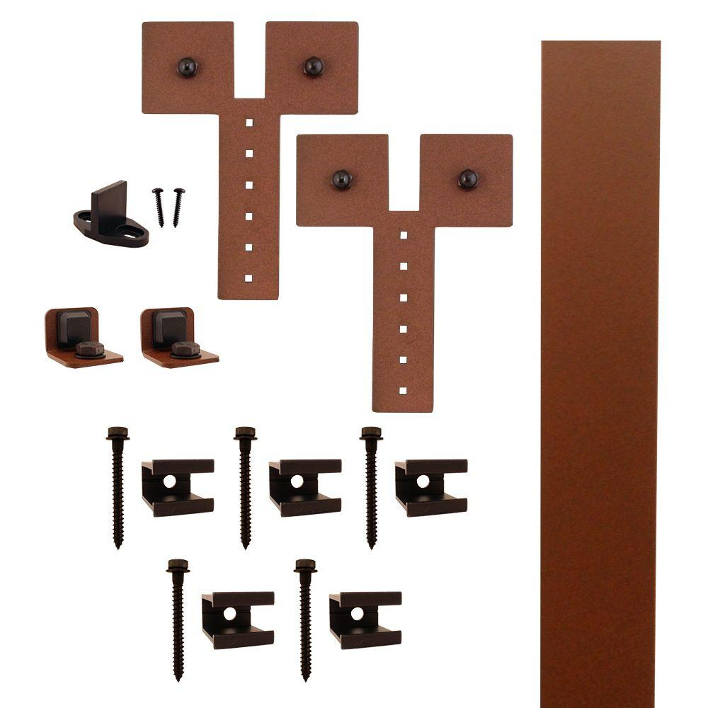 Dually Strap New Age Rust Rolling Barn Door Hardware Kit With