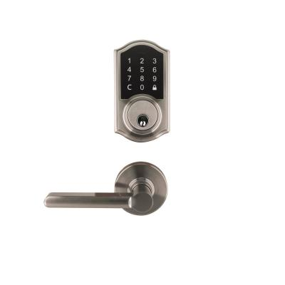 Castle Satin Nickel Touchpad Electronic Single Cylinder Deadbolt with Tonbridge Hall and Closet Door Lever Combo Pack