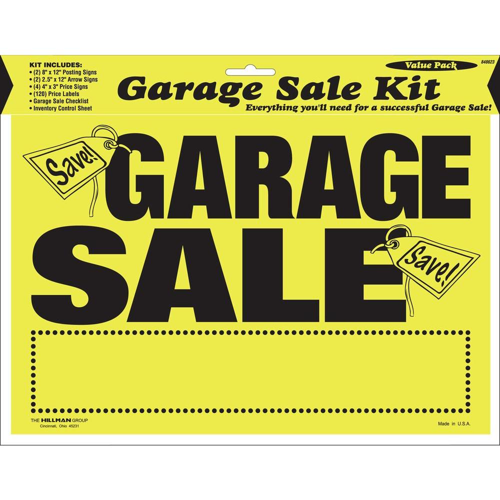The Hillman Group 8 In X 12 In Garage Sale Sign Kit 848623 The