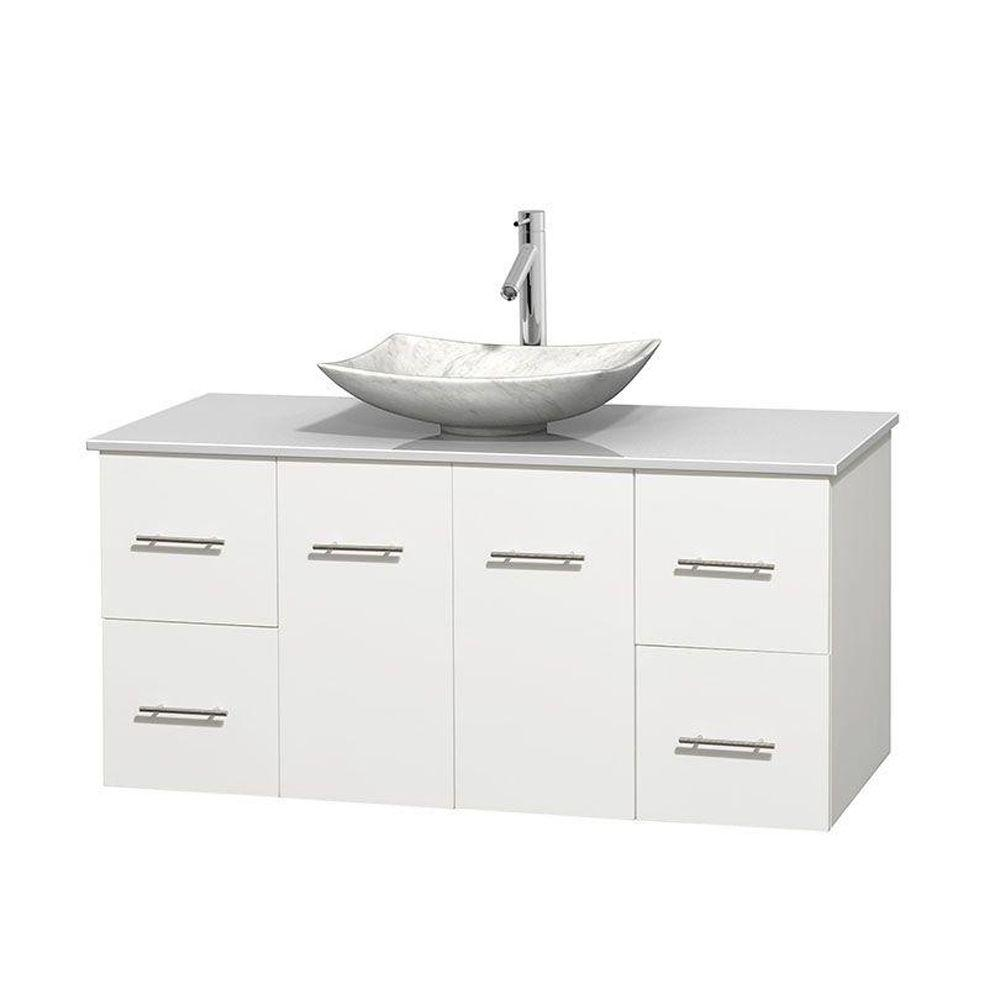 Wyndham Collection Centra In Vanity In White With SolidSurface - Glass top bathroom vanity units