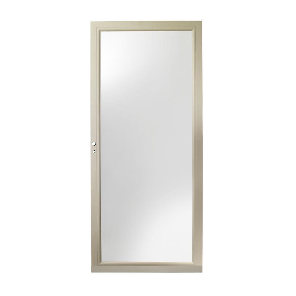 36 in. x 80 in. 3000 Series Sandtone Left-Hand Fullview Easy Install Aluminum Storm Door